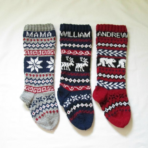 Knitted Christmas Stocking Patterns Personalized : For 2016: Knitted Christmas Stockings personalized Set of 3 Fair isle customi...