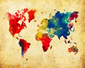 World Map Absract Grunge Vintage Print Poster