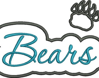 Bears Applique Script with Claw