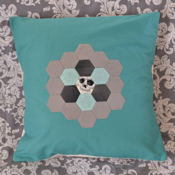 Skull and dots hexagon patchwork pillow/ cushion (teal, grey and cream)