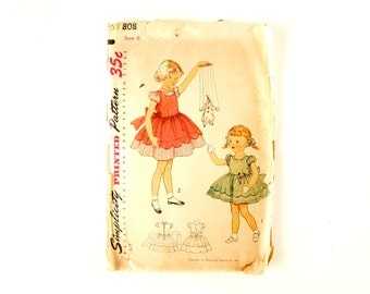 Vintage 1950s Simplicity Pattern 3808,Child's One-Piece Dress Mother and Daughter Fashion (Complete, Size 6) - Collectible, Sewing Pattern