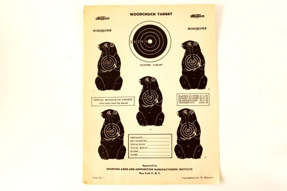 Vintage Winchester Woodchuck Shooting Target c.1950s (12 x 9 inches) - Collectible, Home Decor, Paper Projects, and more