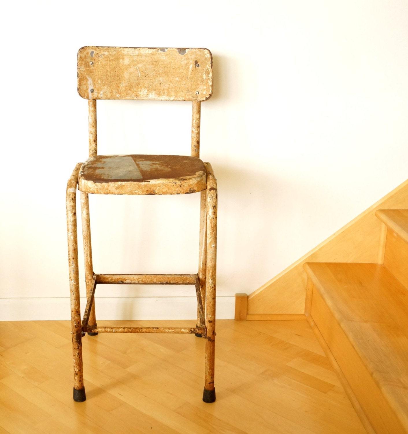 Vintage Rustic Metal Stool In Chippy White Tall With Backrest