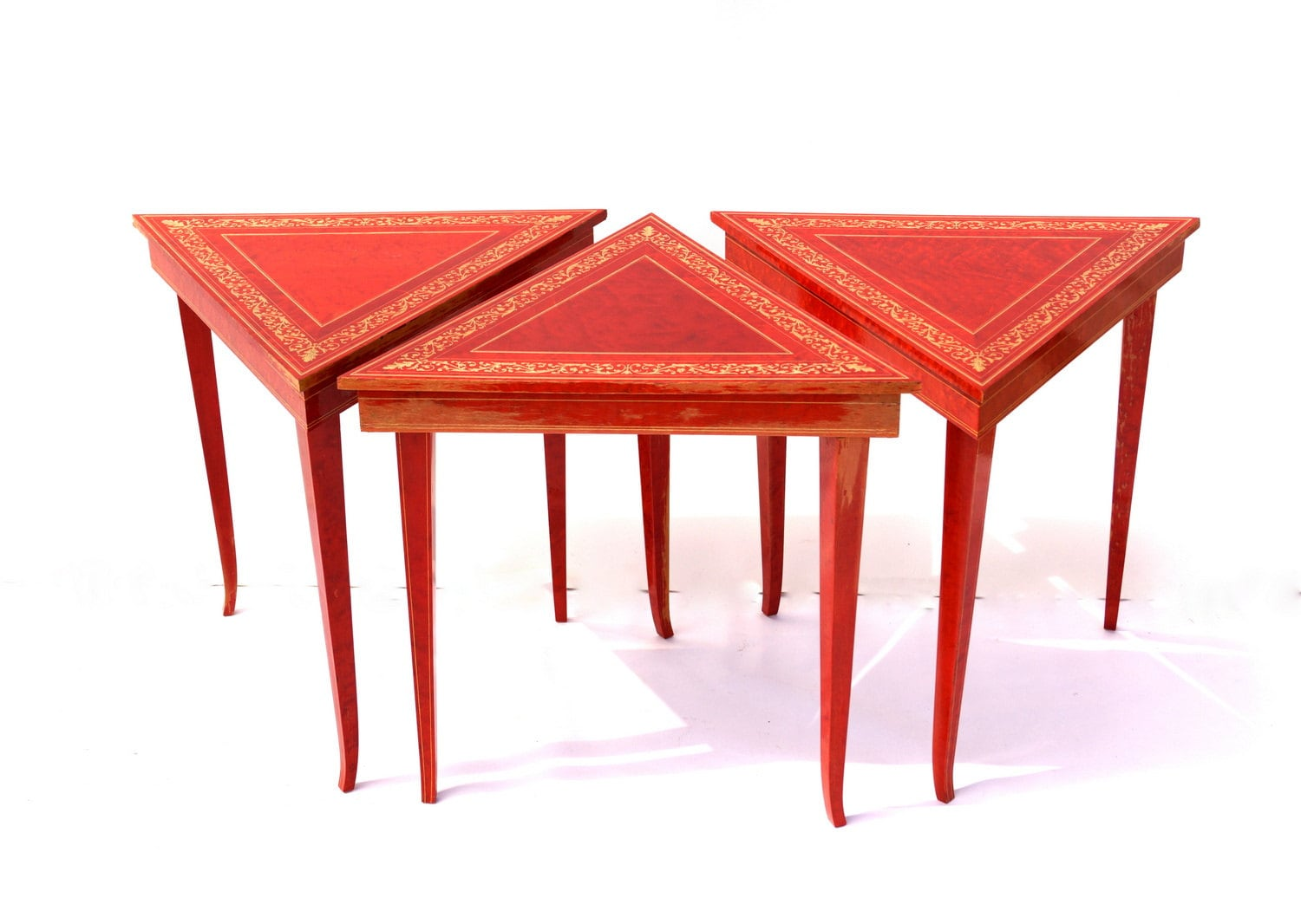 vintage italian music tables triangle shaped nesting tables. Black Bedroom Furniture Sets. Home Design Ideas