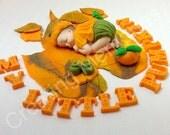 My Little  Pumpkin - Fondant Baby Cake Topper. Hand crafted cake decorations, fondant, gumpaste