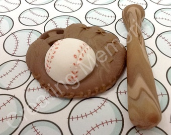 Fondant Baseball Glove and Bat Edible Cake Decorations, Perfect for your home made cakes