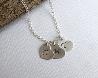 Three Sterling Silver Initial Hearts Necklace -- Personalized 925 Sterling Silver Charms -- Friendship -- Sisters -- Mothers