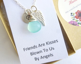Sterling Silver Angel Wing Initial Necklace with Gift Message... Friendship -- Bridesmaids -- Maid of Honor