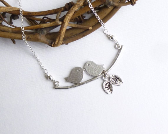 Love Birds with Initial Leaves and Sterling Chain -- Silver Necklace