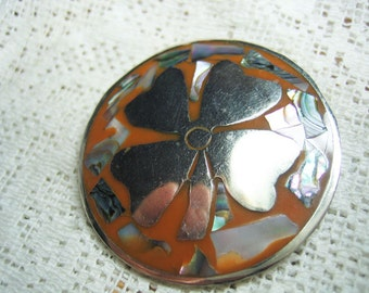 Vintage Mexico Hecho Sterling Inlay Clover Brooch