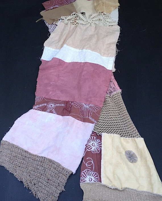 autumn gypsy vintage lace boho simple shabby eco earthy khaki yellow pink brown embroidery gift pink dyed scarf