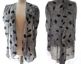 SALE Vintage 80s Retro Long Bohemian Kimono Shrug Jacket M/L