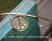 ARTisan Made PEACE Bangle - Fine Silver - Sterling Silver - OOAK