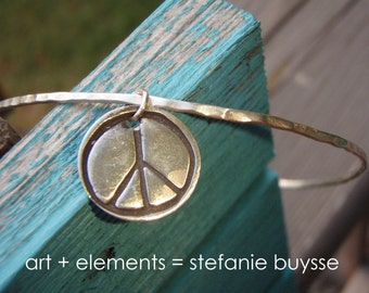 ARTisan Made PEACE Bangle - Sterling Silver - OOAK