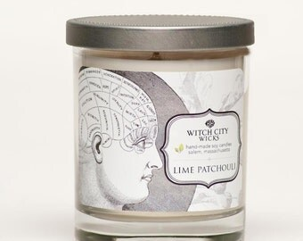 Lime Patchouli scented soy candle, Phrenology head, Curiosities collection