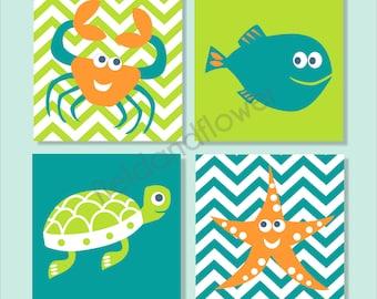 Underwater Creatures, Crab, Turtle, Fish, Starfish, Children's Canvas, Bathroom Decor- Set of four 10x10 stretched canvas Customizable