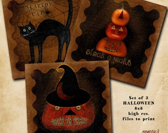 Halloween set of 3 8x8 printables