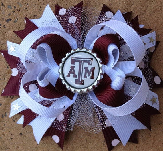 "TEXAS AGGIES Hair Bow Boutique Style 4 1/2"" - 5 "" Bottle Cap Bow with ..."