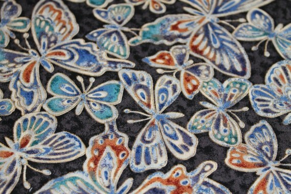 "VINTAGE Fabric/Butterfly Fabric/1980's Fabric/100% Cotton Quilt Fabric/REMNANT FABRICS 18"" x 4"" and 10"" x 5"" Plus Overage"