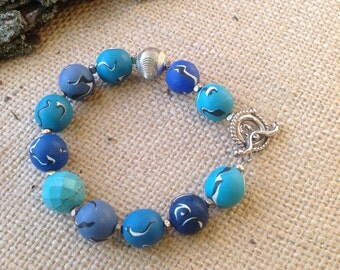 Polymer Clay Bracelet in Shades of Blue