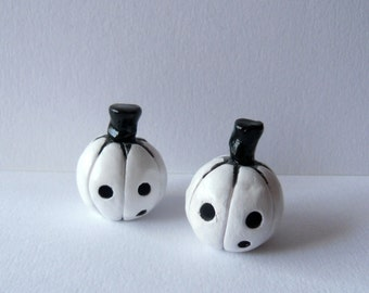 Halloween Pumpkins - The Ghostly Twins - Two Black and White Pumpkins - Clay Sculptures - OOAK
