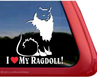 I Love My Ragdoll | DC540HEA | High Quality Adhesive Vinyl Ragdoll Cat Window Decal Sticker