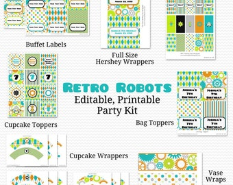 Retro Robots Printable Party Package, Party Supplies, Boy Birthday, Baby Shower -- Editable and Instant Download