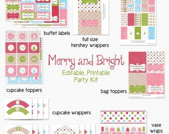 Printable Christmas Party Package, Party Supplies, Decoration, Holiday Party Kit, Set, Merry and Bright -- Editable and Instant Download