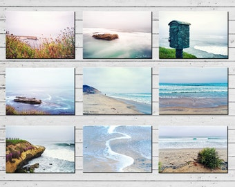 Beach Postcards San Diego Art Set of 9 - California Postcard Set, Art Postcards, Beach Postcard Collection, Small Art Prints, Beach Decor