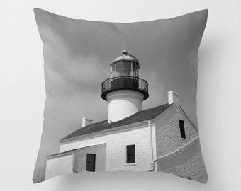 Lighthouse Nautical Pillow, Black and White Home Decor, San Diego Point Loma Decorative Throw Pillow, Pillow Cover