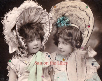 Digital Download ~ Victorian Girls in Bonnets Photo Postcard