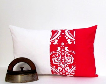SALE!!! RED and WHITE Lumbar Pillow Decorative Pillow Cover.