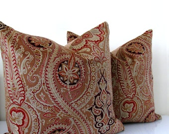 SALE!!!!  Velvet Paisley Pillow Cover Cavendisa Luxurious Velvet in Brown/Merlot by Joseph Abboud Handmade in the USA