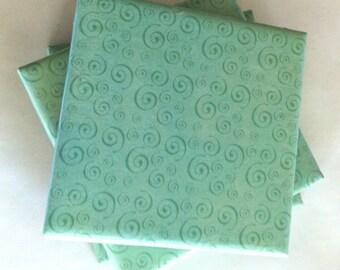 Teal Spiral Ceramic Coasters