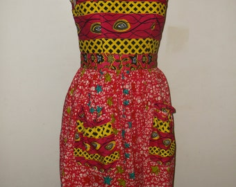 ON SALE- Cotton Dress, African Print Dress, Sz. 14, 100% Cotton Wax Print, Mixed print cotton dress