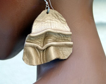 Burnished Metallic Gold Waves Leather Dangle Earrings