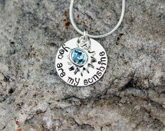 YOU ARE My SUNSHINE - Hand Stamped dainty necklace