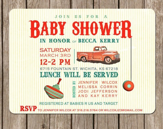PRINTED Vintage Toy Truck Baby Shower Invitations and Envelopes- baby boy - 2.00 USD per invite (min. order 20)