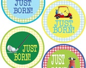 ADD ON Just Born Stickers for Baby, Just Born Stickers  - Golf - Just Born Stickers -Baby Shower Gift - Baby