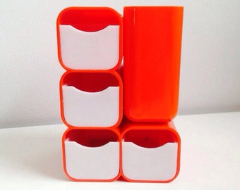 Vintage HOF desk caddy Mod orange organization