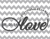 Modern Wedding Cross Stitch pattern Infinity Love with Names & Date