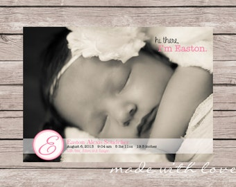 Hi There, Girl version-A Simple and Stylish Custom Photo Birth Announcement, 5x7, personalized and printable