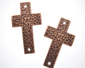 2 Large Copper Sideways Cross Connector Links, hammered metal  50mm x 29mm CHC0016