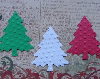 30 Dot Embossed Large Christmas Trees Die Cuts - Paper Punches - Red Green White - Scrapbooking - Holiday Evergreen  Embellishments