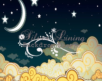 NEW Item 5ft x 5ft Vinyl Photography Backdrop / Goodnight MOON / Baby Photography