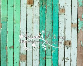 5ft x 7ft Vinyl Photography Backdrop / Cambria Green Peeling Wood / LARGE PRINT