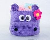 Hippo Crochet Basket - PDF Crochet Pattern - Instant Download - Container Home Decor Basket Box animal