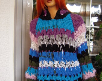 jumper handmade knitted/ sweater/hoodie soft sweater/ multicolor ready to ship gift for her all size sweater by golden yarn