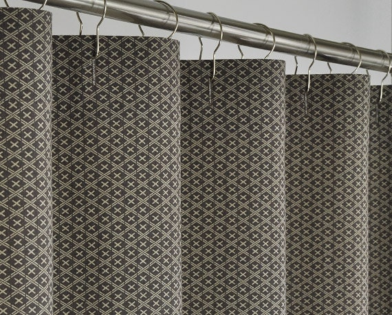 "Brown Linen Shower Curtain - Extra Long - 72"" Wide x 72 ..."