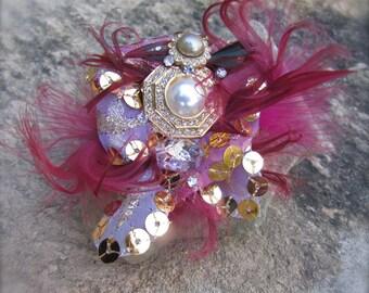 Brooch Pin Pink burgundy vintage